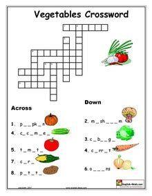 fruit 7 letters crossword clue esl vocabulary printable worksheets vegetables