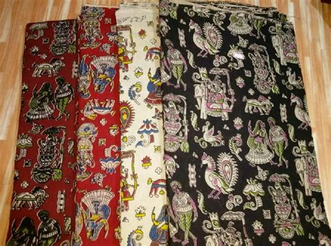 Red Cotton Curtains Kalamkari Fabric Kalamkari Silk Fabric Supplier Machilipatnam