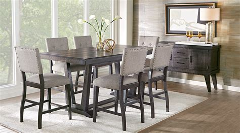bar height dining room table sets hill creek black 5 pc counter height dining room dining
