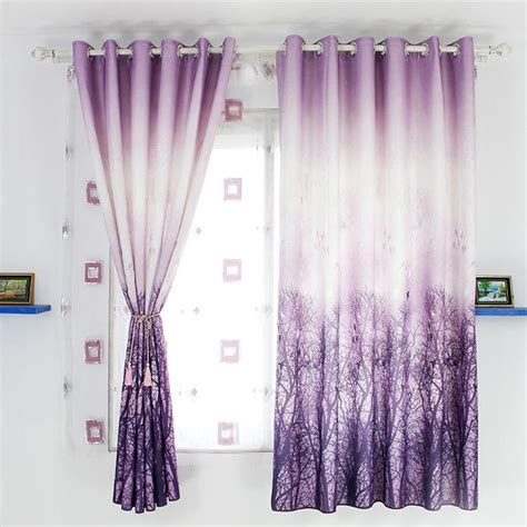 purple print curtains purple tree print poly cotton blend country short curtains