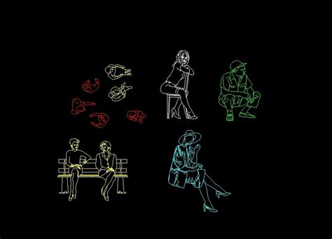 men  women sitting human figure elevation  plan