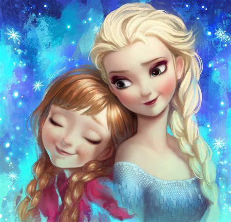 elsa y anna frozen wallpaper frozen elsa and anna fan art by angju on deviantart