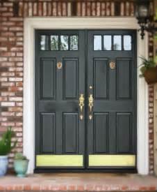 Front Door Plate Black Front Door With Brass Door Knockers Door Harware And Brass Kick Plates A Front Door