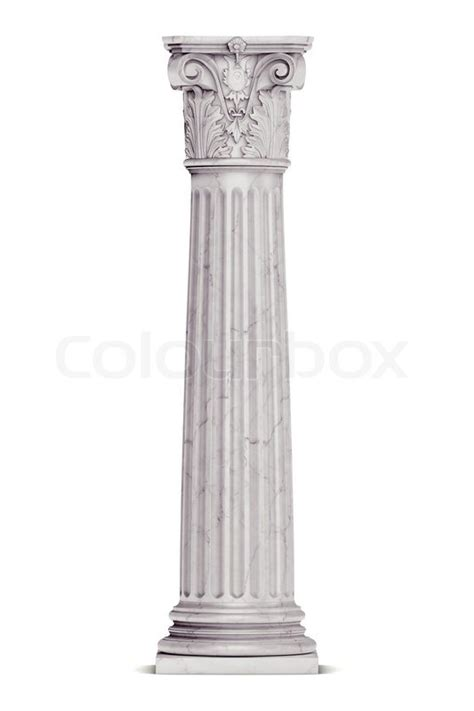 Marble Temple Home Decoration by Single Greek Column Isolated On White Stock Photo
