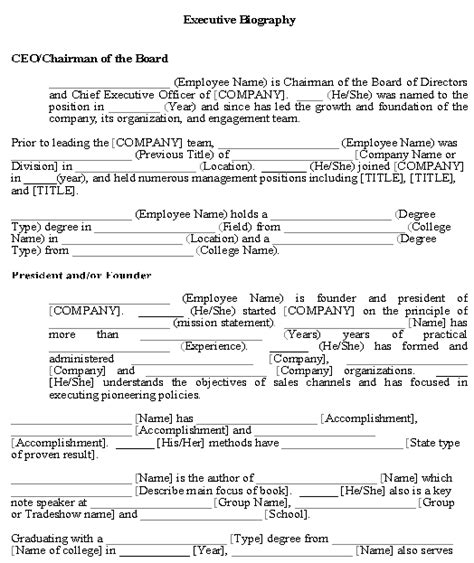 executive biography format best photos of executive biography word templates