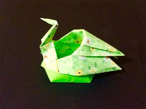 Origami Crane Box - 折り紙 鶴の器 origami box of the crane
