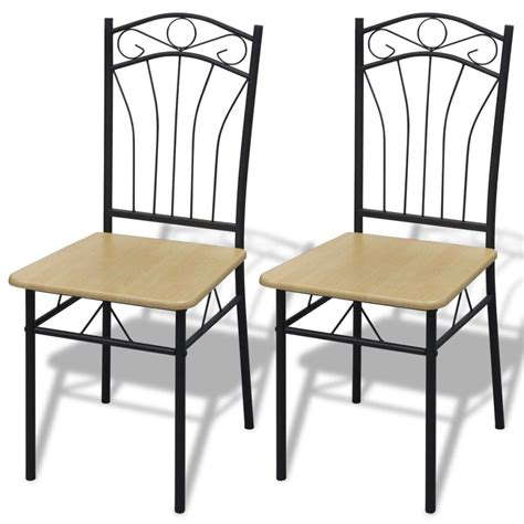 steel dining room chairs 2 dining chairs with steel frame light brown vidaxl com