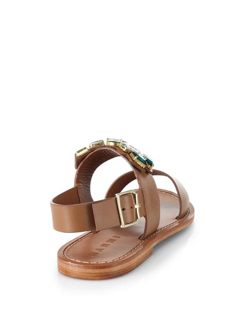 jeweled sandals lyst marni jeweled leather sandals in brown