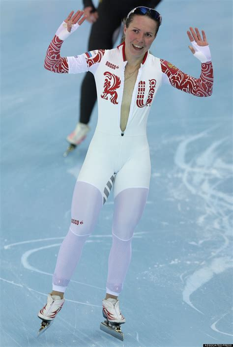 russian speed skater olga graf unzips suit without
