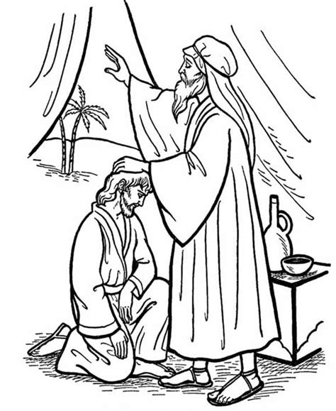 sunday school coloring pages jacob and esau isaac give his blessing to jacob in jacob and esau