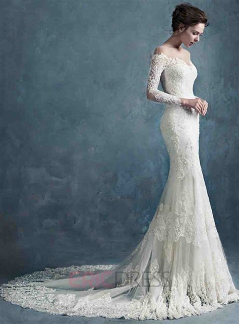 ericdress long sleeves mermaid wedding dress wedding