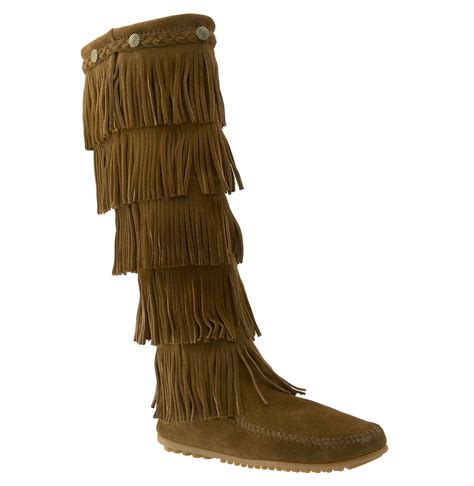 minnetonka 5 layer fringe boot in brown dusty brown lyst