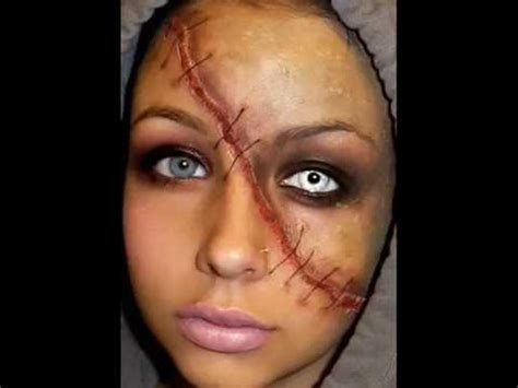 zombie scar tutorial halloween series 2011 split face makeup tutorial youtube