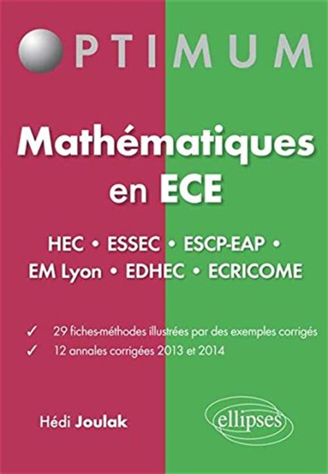 formulaire maths ece 1re 234000019x 500 exercices de mathematiques en ecs premiere annee joulak ellipses market book ebay