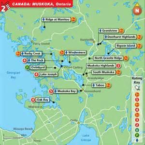 muskoka canada map muskoka golf map top golf courses and best stay play