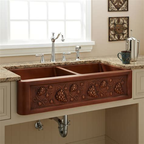 36 Quot Vine Design Double Bowl Copper Farmhouse Sink Kitchen Farmhouse Copper Kitchen Sink