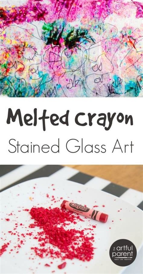 How To Make Stained Glass With Wax Paper - melted crayon stained glass with drawings crafts