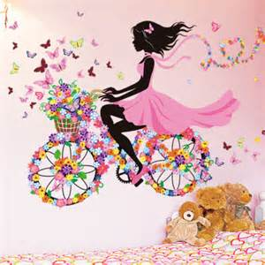 bicycle flower girl removable vinyl wall sticker decal mural art diy decals want now stickers