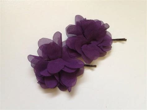 Purple Must Accessories For Fall by Plum Chiffon Flower Bridal Hairpiece Purple Bridesmaids
