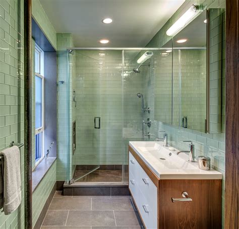Modern Bathroom With Green Tiles Kitchen Sink Lighting Kitchen Traditional With Beige