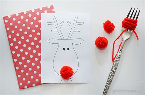 pom pom card template reindeer card free printable picklebums