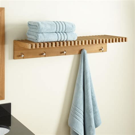 bathroom towel rack with shelf hauck teak towel shelf with stainless steel hangers bathroom