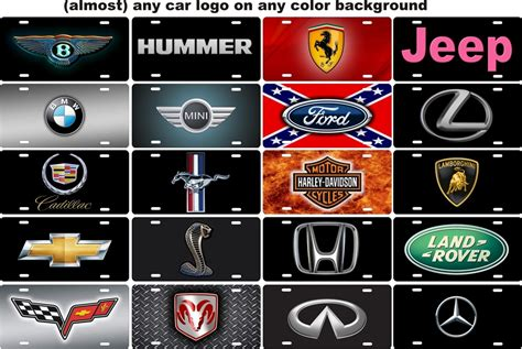 Handmade Car Brands - any car logo personalized novelty license plate decorative