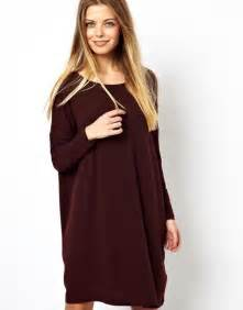 asos t shirt dress in nepi with long sleeve in purple lyst