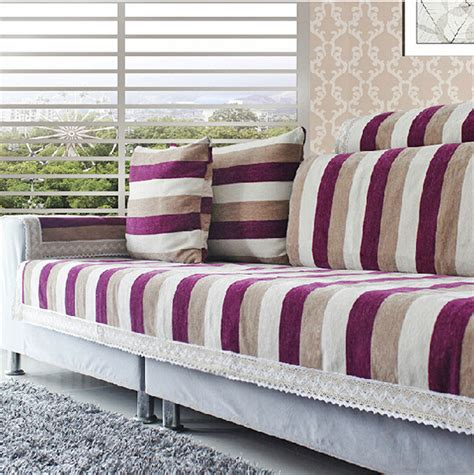 striped sofa covers striped corner sofa covers set chenille flocked sectional