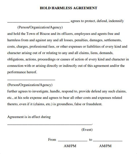 9 Sle Hold Harmless Agreements Sle Templates Hold Harmless Form Template