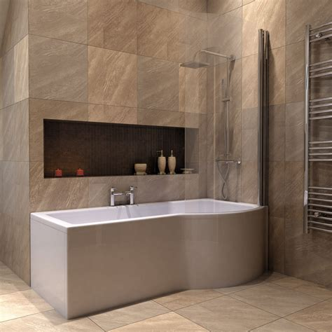 bathtub side panel bathroom 1500mm left right hand p shaped shower bath