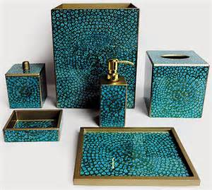 Turquoise Blue Bathroom Accessories Posh Powder Powder Room Decor Accessories Palm Illustrated