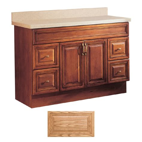Bathroom Vanities Oak Shop Insignia Ridgefield Medium Oak Traditional Bathroom Vanity Common 48 In X 21 In Actual