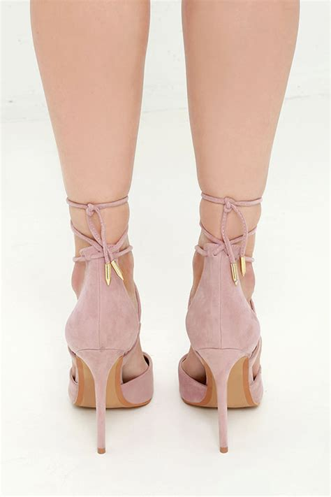 light pink tie up heels dusty heels lace up heels caged heels 36 00