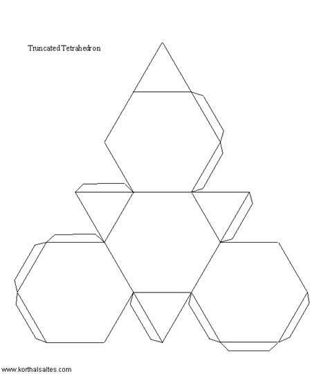 hexahedron template paper truncated tetrahedron