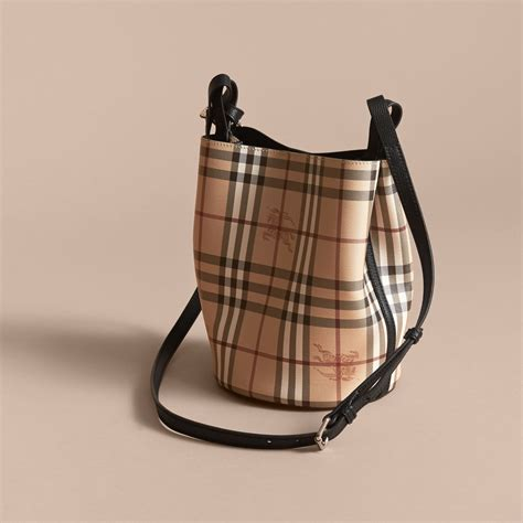 Burberry Crossbody Leather And Haymarket Check Crossbody Bag In Black