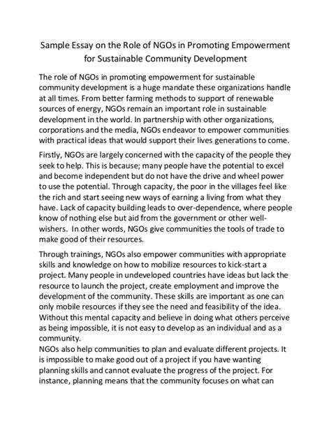 Sustainability Essay Topics by Sle Essay On The Of Ng Os In Promoting Empowerment For Sustai