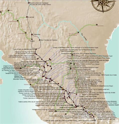 el camino real map el camino real historic located in mexico