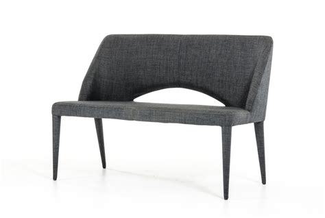 contemporary dining benches modrest williamette mid century dark grey fabric bench