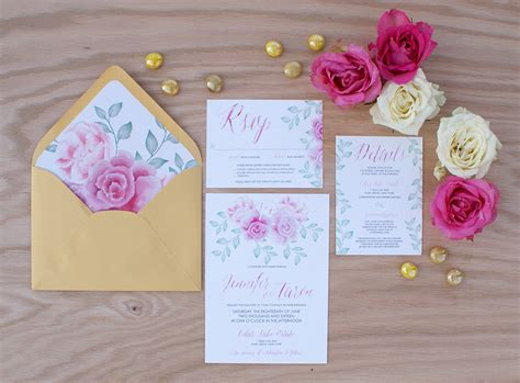 Wedding Invitations Watercolor by Pink Peony Watercolor Wedding Invitation 187 Bohemian Mint