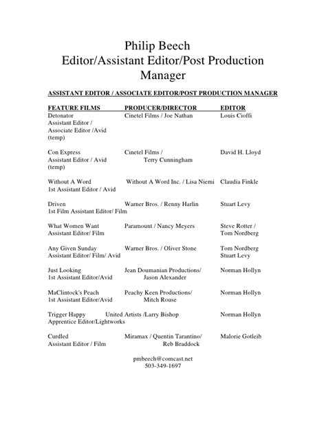 Avid Assistant Editor Sle Resume by Pb Editor Resume