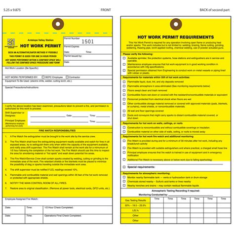 hot work permit forms template bing images