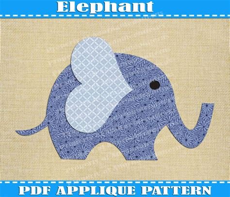 elephant applique pattern template pdf by adornablepatterns