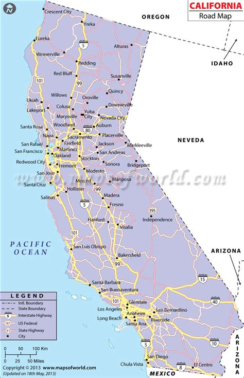 california map of highways map of california free large images