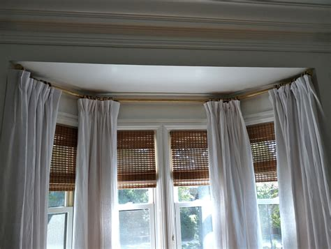 Images Of Bay Window Curtains Decor Decor Ceiling Mount Bay Window Curtain Rod With White Curtains And White Ceiling Plus Tile