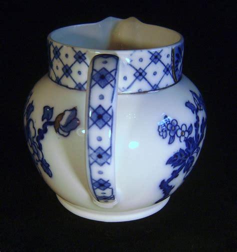 blue pattern pottery vintage bursley ware blue white pottery jug stanley