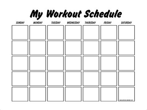 printable calendar exercise workout schedule template 10 free word excel pdf