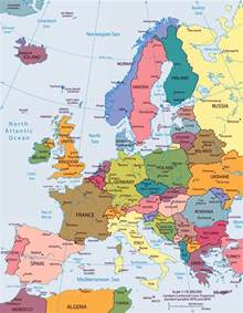 Large big europe flag political map showing capital cities travel