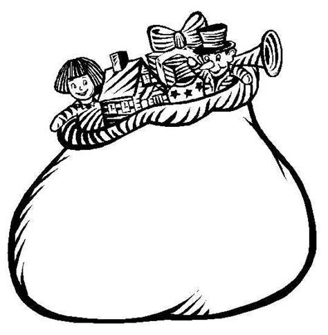 Santa Bag Coloring Page | santa claus sack full of gifts fantasy coloring pages