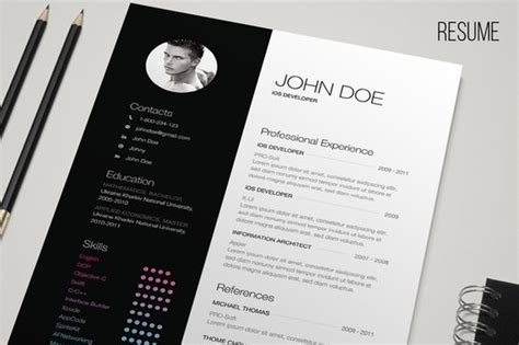 Cv Sjabloon Indesign B W Resume Creative Colors And Minimalist Design